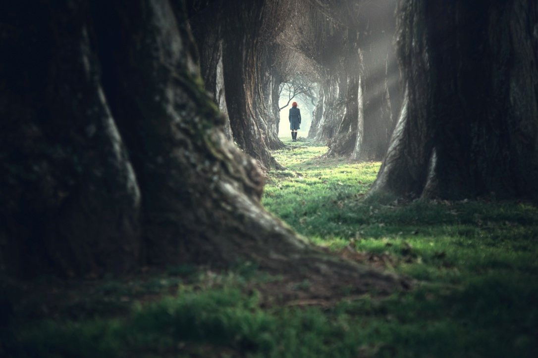 Woman walking in a mystic forest